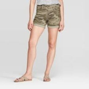 High-Rise Camo Print Midi Jean Shorts